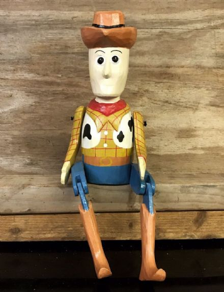Toy Story Woody Cowboy Puppet Hand Carved Wooden Sitting Ornament 40 cm